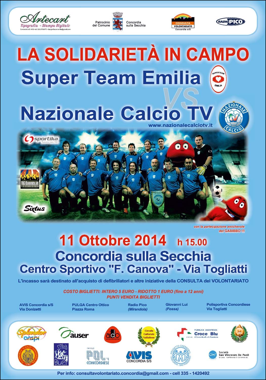 """La """"Nazionale Calcio TV"""" in campo a Concordia sulla Secchia (Modena) a sostegno della solidarietà"""