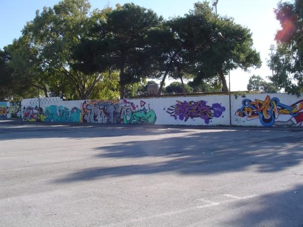 Murales recinzione stadio di Ragusa