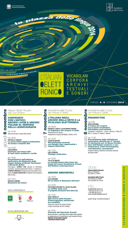 Piazza delle Lingue, VIII edizione. L'italiano elettronico – Vocabolari, corpora, archivi testuali e sonori