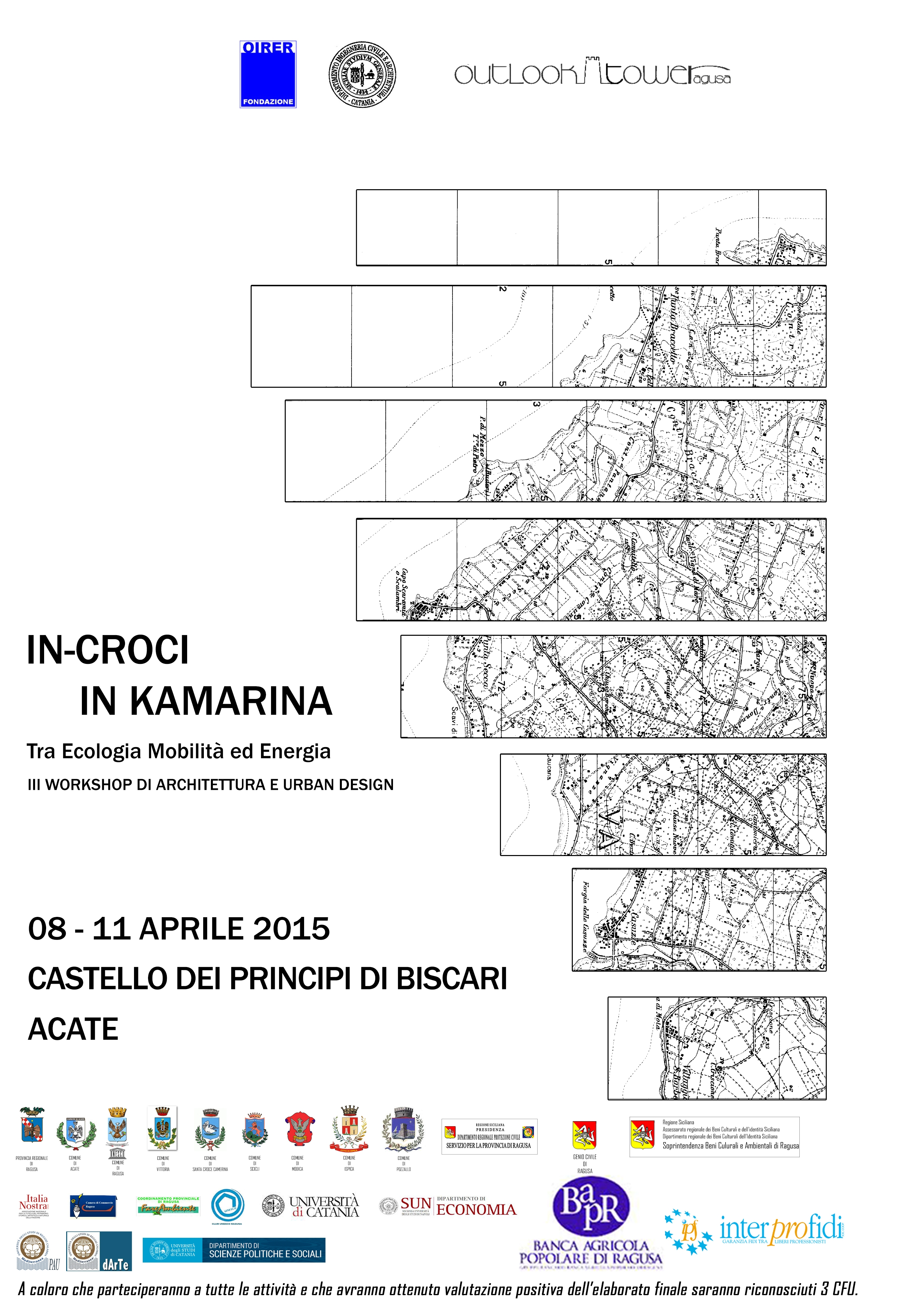 "Acate. Terza edizione del Workshop ""In-Croci in Kamarina"". Castello dei Principi di Biscari, 8-9-10-11 aprile."