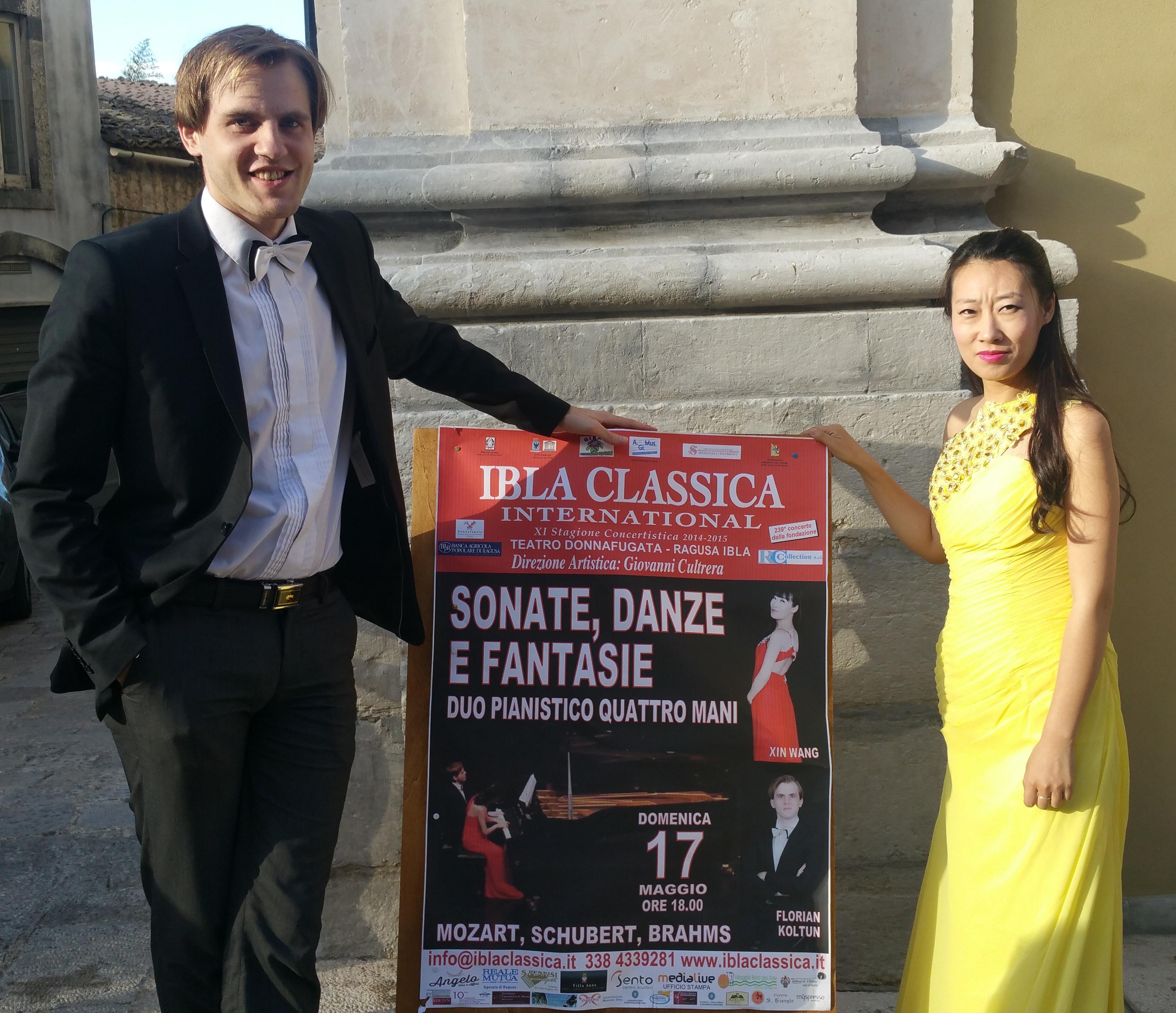 """Il duo pianistico Xin Wang e Florian Koltun chiude la XI Stagione Concertistica   """"Ibla Classica International"""". Un successo annunciato."""