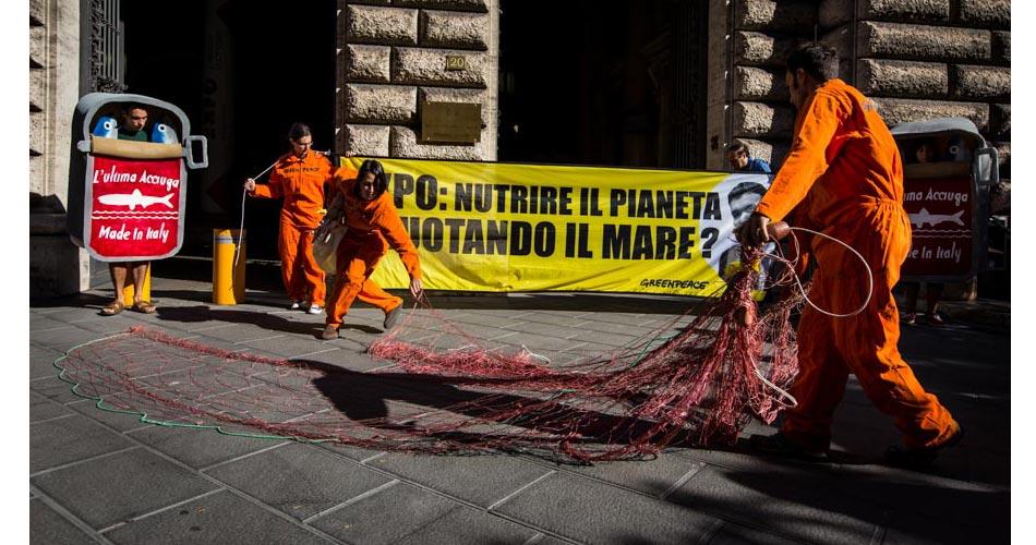 """Greenpeace in azione con un messaggio per il ministro Martina: """"Nutrire il pianeta svuotando il mare?"""""""
