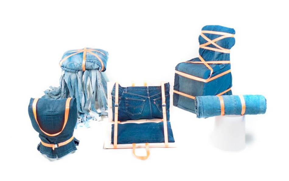 """Design. La sfida """"In jeans"""" dei giovani progettisti siciliani. """"Denim Chairs"""": Dai jeans rottamati nasce l'eco-design siciliano"""