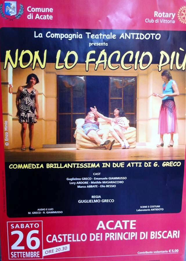 """Acate. Serata teatrale di beneficenza a cura del Rotary Club di Vittoria con la compagnia """"Antidoto"""" di Gela."""