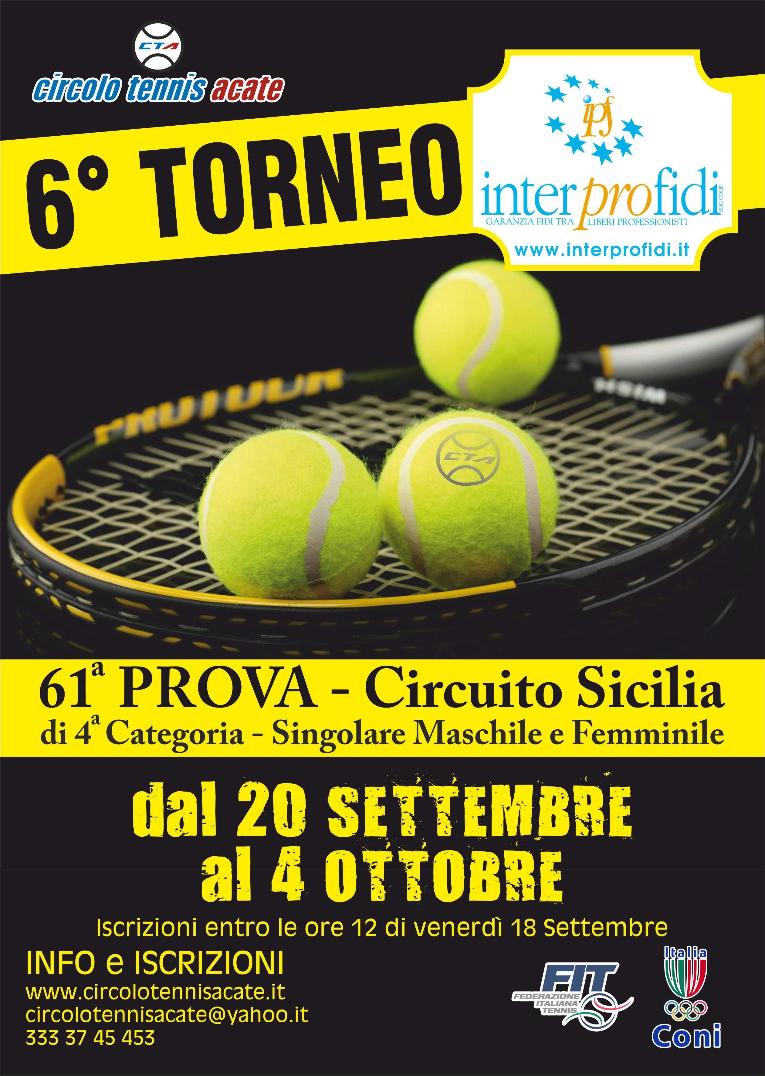 """Acate. Sesta Edizione del Torneo """"Interprofidi di Tennis"""" al Circolo del Tennis di Acate, dal 20 settembre al 4 ottobre."""