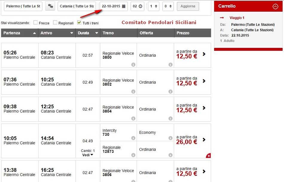 """Sicilia.  Comitato pendolari Siciliani: """"Traffico ferroviario PA-CT interrotto ma i biglietti sono acquistabili online per tutte le 14 corse treno"""""""