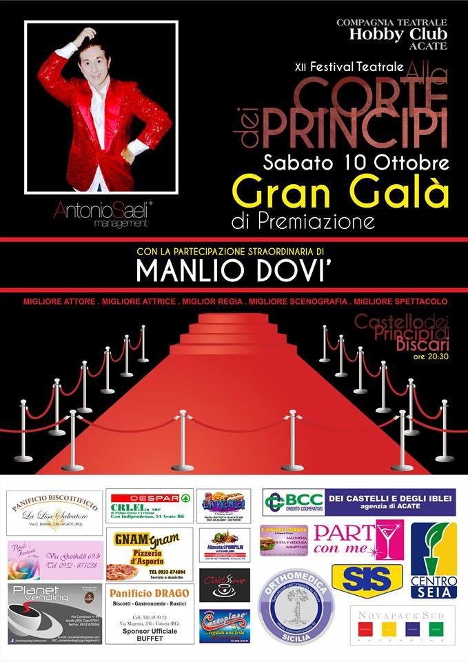 """Acate. """"Gran Galà"""" di premiazione del festival teatrale, """"Alla Corte dei Principi"""" questa sera al Castello con la partecipazione di Manlio Dovì."""