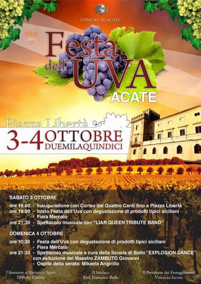 """Acate. Terza Edizione della """"Festa dell'Uva"""". Piazza Libertà 3-4 ottobre."""