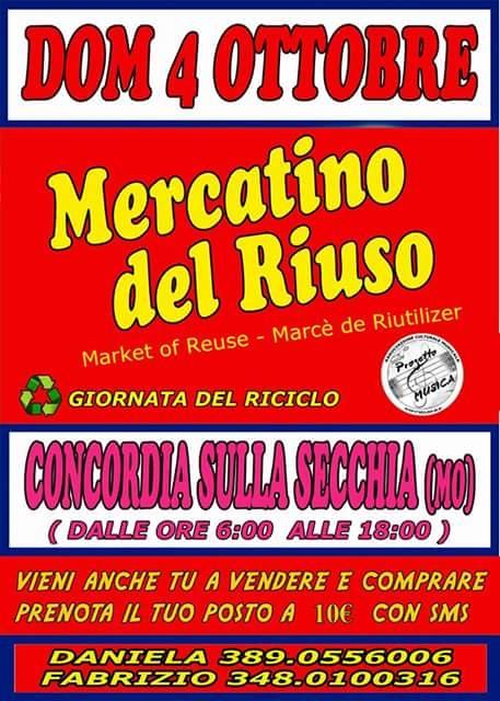 """Concordia sulla Secchia. Domenica 4 ottobre, """"Mercatino del riuso""""."""