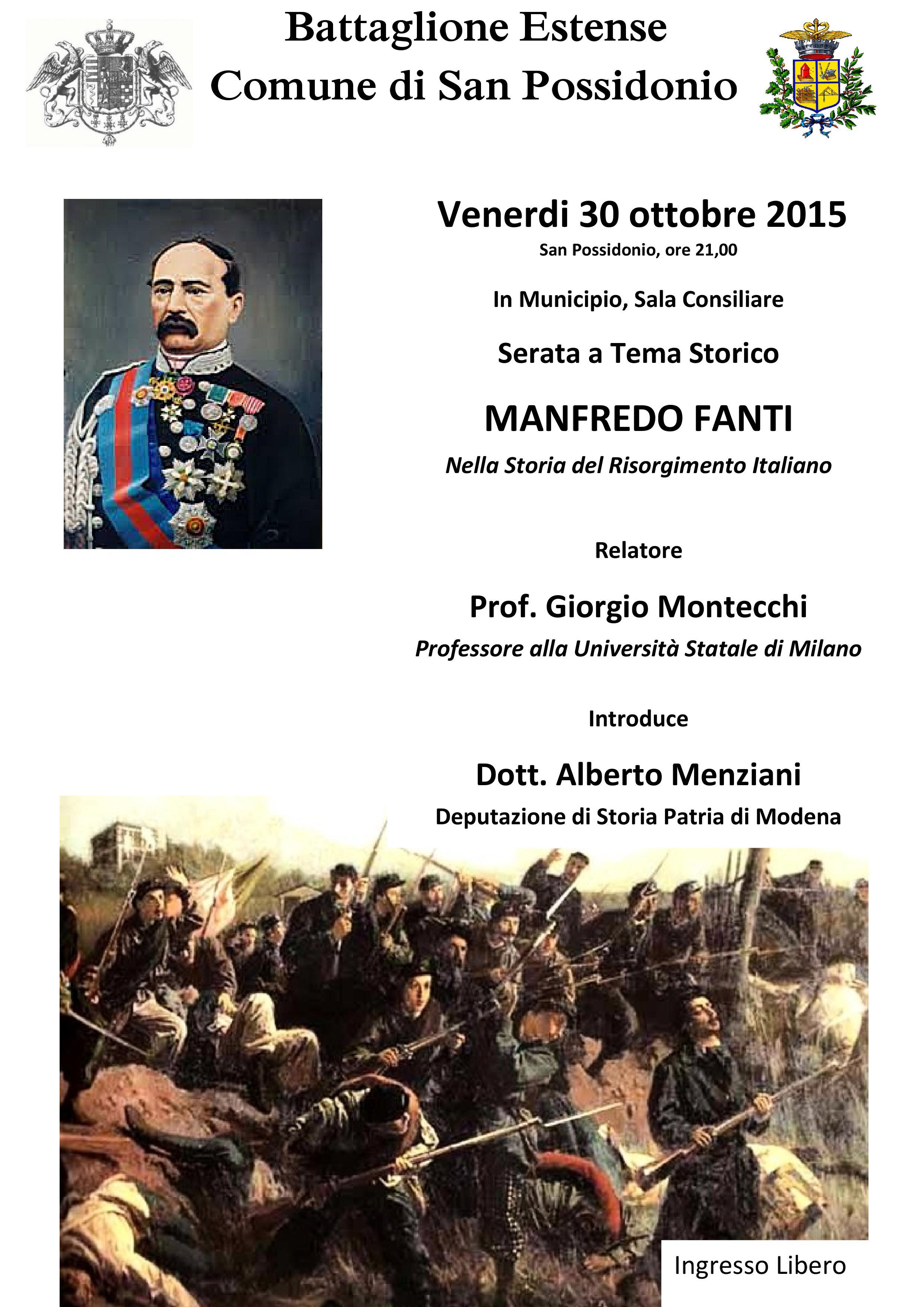 San Possidonio. Serata storica dedicata a Manfredo Fanti.