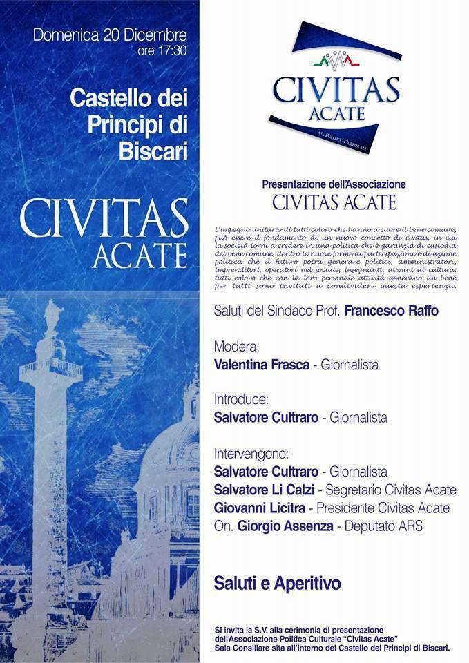 """Acate. Nasce l'associazione politico culturale """"Civitas Acate"""". La presentazione ufficiale domenica 20 dicembre al Castello."""