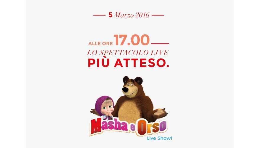 """Spettacoli, """"Masha e orso live show"""" in anteprima a Sicilia Outlet Village"""