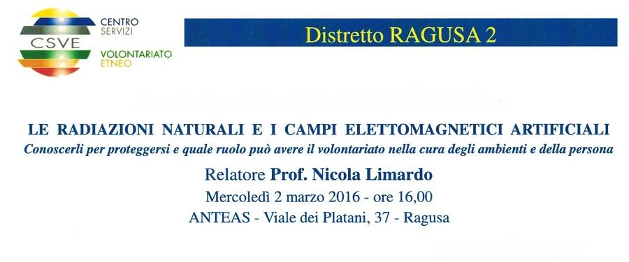 Radiazioni naturali e  campi elettromagnetici artificiali, convegno a Ragusa