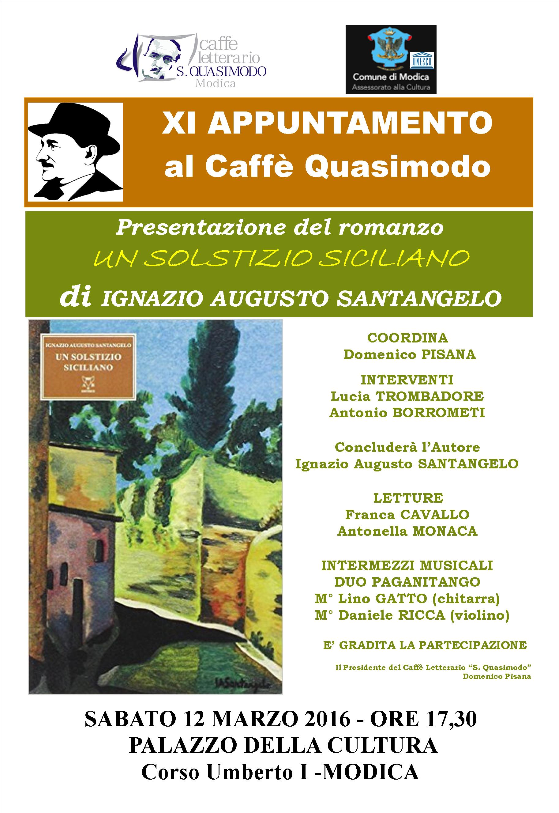 """Modica. """"Un solstizio siciliano"""": presentazione del romanzo del giudice  Ignazio Augusto Santangelo, il 12 marzo al Caffè Quasimodo."""