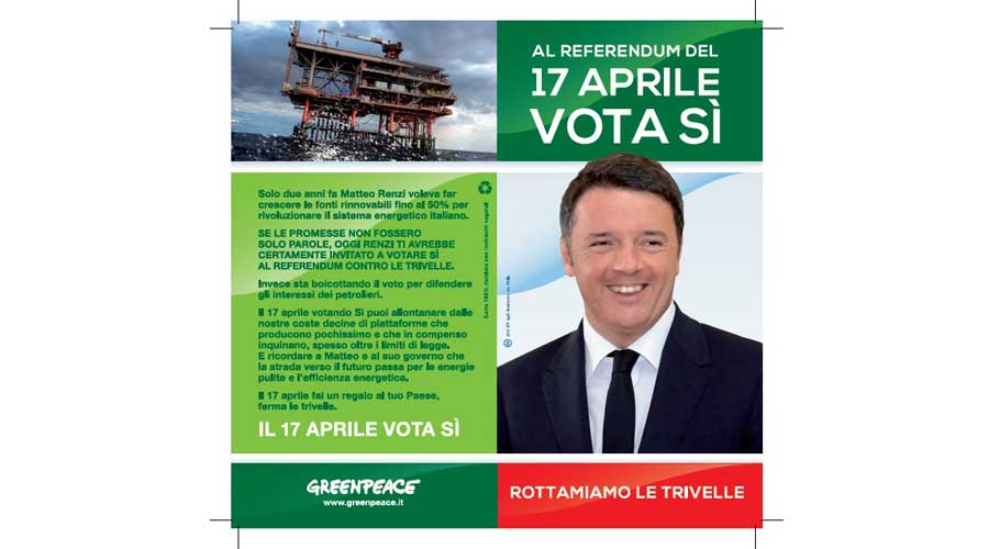 """Referendum. Provocazione Greenpeace: """"Renzi invita gli italiani a votare sì per rottamare le trivelle"""""""