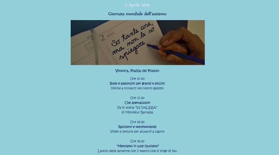 Vittoria, autismo: Una festa-incontro sabato 2 in piazza del Popolo