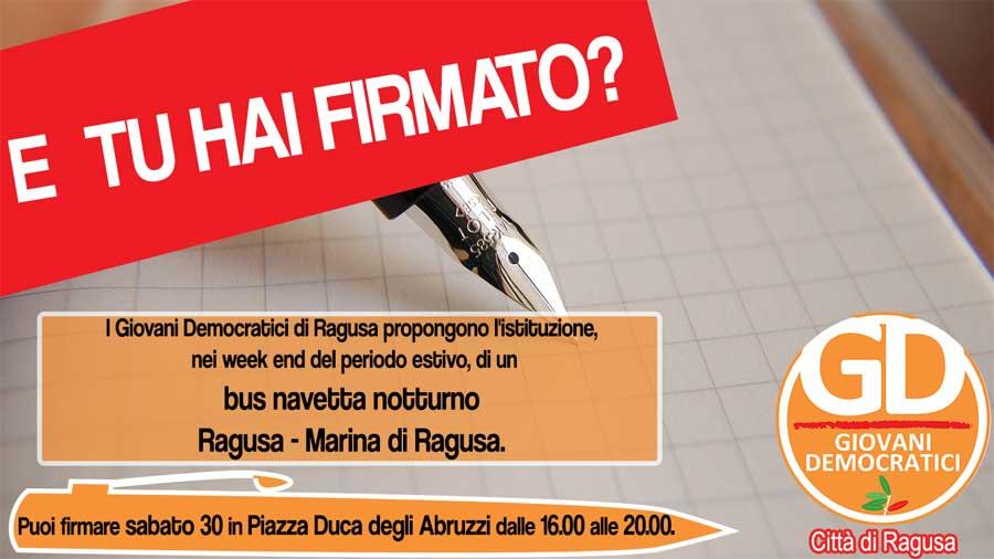 Ragusa. GD avviano raccolta firme per istituzione bus navetta notturno Ragusa – Marina di Ragusa