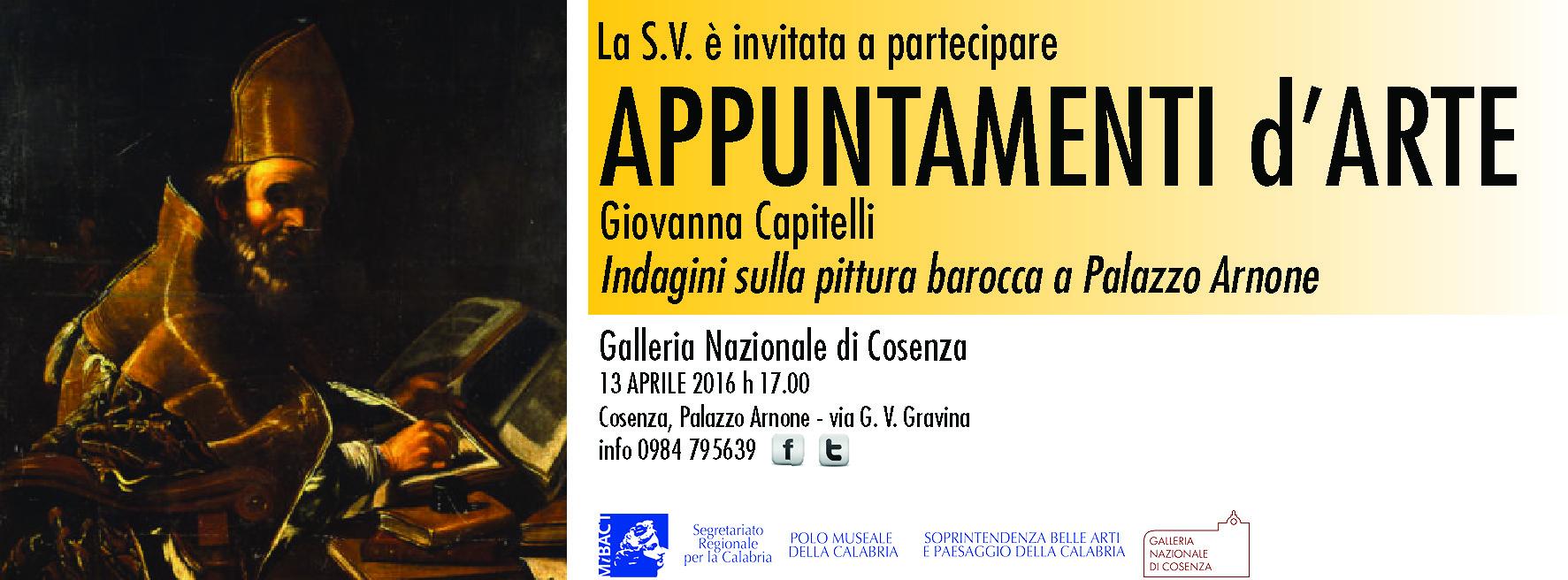 Cosenza, 13 aprile 2016: Indagini sulla pittura barocca a Palazzo Arnone. Conferenza di Giovanna Capitelli
