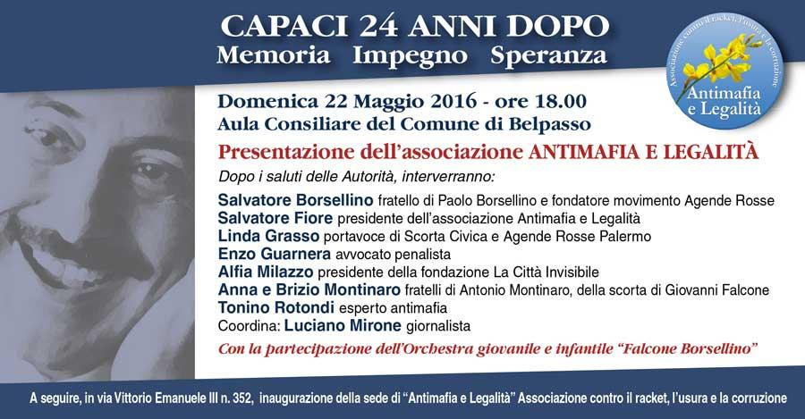 """""""Capaci 24 anni dopo: memoria, impegno speranza"""". A Belpasso si ricorda Falcone con Salvatore Borsellino"""