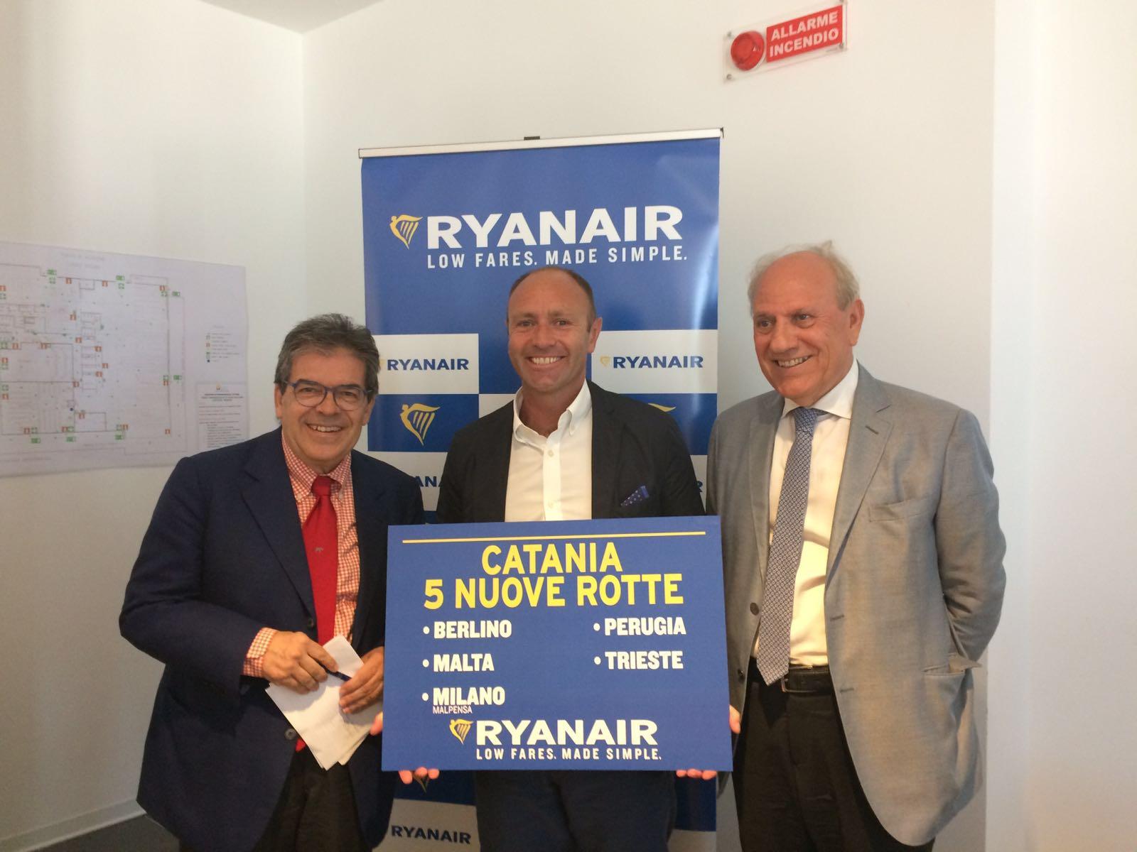 Ryanair ha lanciato l'operativo invernale di Catania: Investimento da 100mln di dollari e 13 rotte