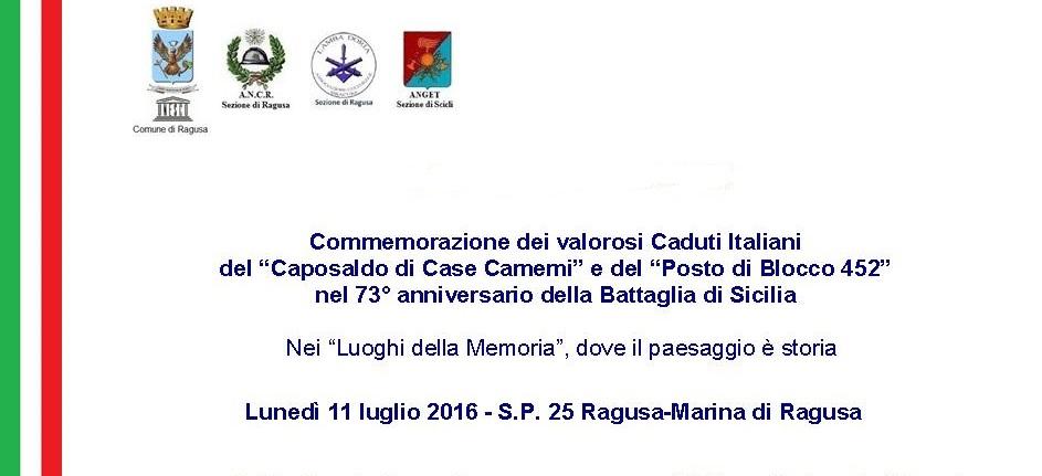 73° Anniversario della Battaglia di Sicilia, a Camemi e al Posto Di Blocco 452 si commemorano i valorosi caduti italiani