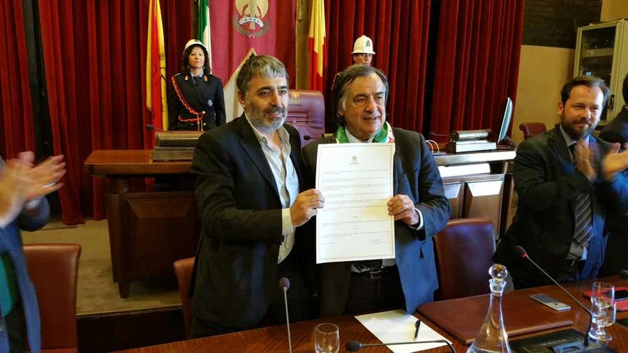"""Palermo, """"Il giorno palestinese"""": Orlando conferisce la cittadinanza onoraria a Mustafa Sabbagh"""