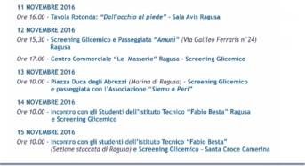 """Giornata Mondiale del Diabete. Screening al Centro Commerciale """"LE MASSERIE"""" e Piazza Duca degli Abruzzi a Marina di Ragusa"""