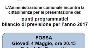 Concordia sulla Secchia (Mo).  Assemblea a Fossa sul bilancio di previsione 2017.