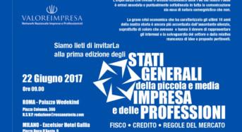 """Economia: Il 22 giugno """"stati generali delle PMI e delle professioni"""" a Roma e a Milano promossi da """"Valore Impresa"""""""