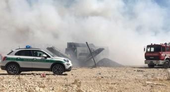A fuoco discarica Cava dei Modicani: Incendio domato per pronto intervento di Polizia provinciale e Vigili del Fuoco