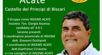 """Acate. Domenica 29 ottobre: il Gruppo Civico """"Insieme-Acate"""" incontra Giorgio Assenza. Riceviamo e pubblichiamo."""