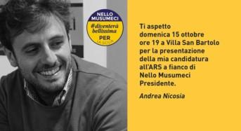 Elezioni, domani la convention di Andrea Nicosia a Villa San Bartolo