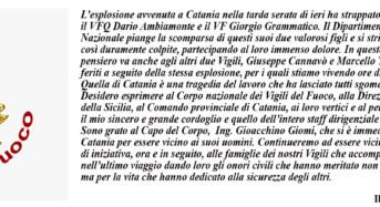 Il Corpo Nazionale dei Vigili del Fuoco piange la scomparsa degli eroi morti a Catania ieri sera