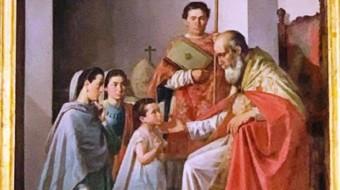 """Acate. """"San Biagio compie un miracolo"""", tela di Giuseppe Mazzone."""